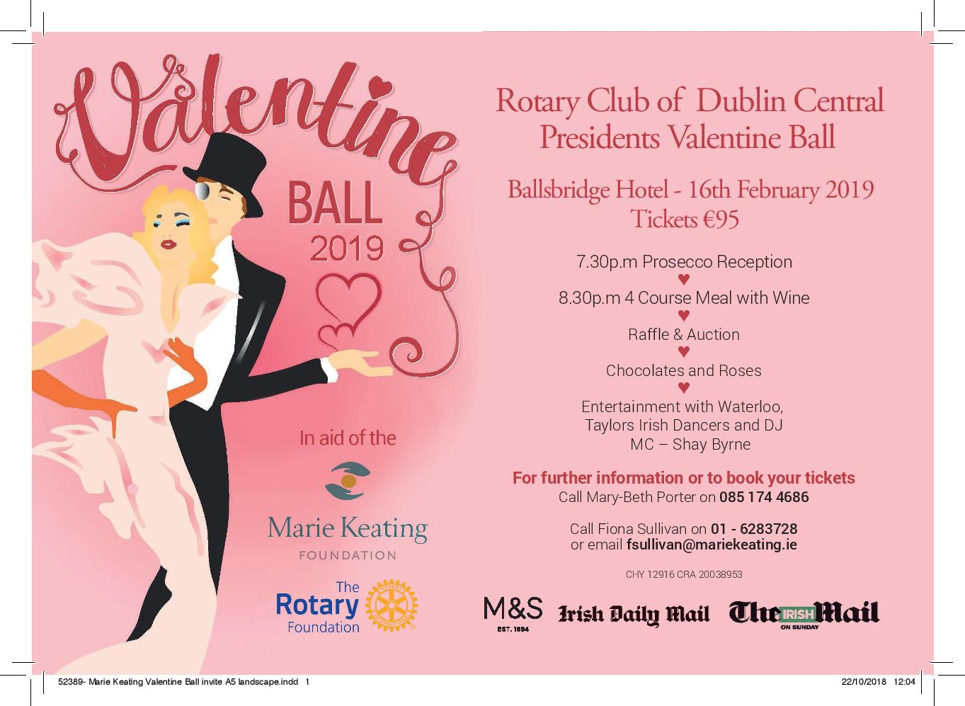 Rotary Club of Dublin Central Valentine Ball 2019